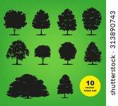 set of ten silhouettes trees on ...   Shutterstock .eps vector #313890743