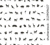 seamless pattern with black... | Shutterstock .eps vector #313909637