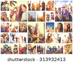 collage diverse faces summer... | Shutterstock . vector #313932413
