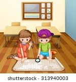 children reading map in...