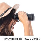 Surprised Woman With Binoculars