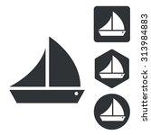 sailing ship icon set ...