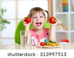 portrait of happy child with... | Shutterstock . vector #313997513