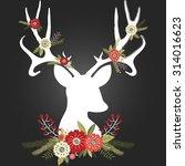 chalkboard christmas deer... | Shutterstock .eps vector #314016623
