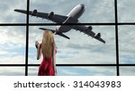 woman at the airport at... | Shutterstock . vector #314043983