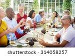 diverse people luncheon... | Shutterstock . vector #314058257