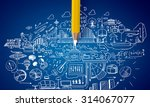 planning concept with pencil... | Shutterstock . vector #314067077