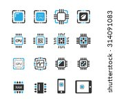 computer chips icons vector | Shutterstock .eps vector #314091083
