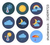 9 flat modern weather icons | Shutterstock . vector #314099723