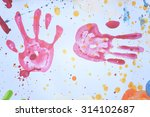 colorful handprint use for... | Shutterstock . vector #314102687
