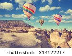 vintage photo of hot air... | Shutterstock . vector #314122217