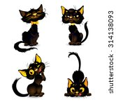 set black cats for halloween | Shutterstock .eps vector #314138093