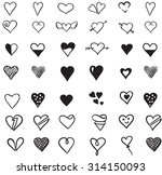 seamless pattern with hearts.... | Shutterstock .eps vector #314150093