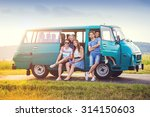 young hipster friends on road... | Shutterstock . vector #314150603