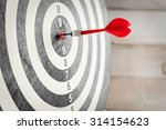 red dart arrow hitting in the... | Shutterstock . vector #314154623