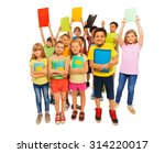 cool students lifting textbook... | Shutterstock . vector #314220017