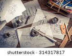 vintage mechanical engineer desk | Shutterstock . vector #314317817