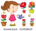 little girl watering flowers...