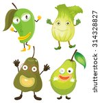 fruits and vegetables in green... | Shutterstock .eps vector #314328827