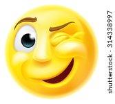 a happy winking emoji emoticon... | Shutterstock .eps vector #314338997