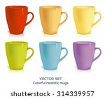 set of six realistic cups in... | Shutterstock .eps vector #314339957