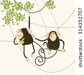 illustration of comical monkeys ...