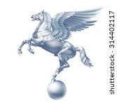 Flying White Pegasus On A Whit...