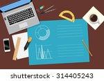 business desktop with  computer ... | Shutterstock .eps vector #314405243