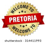 pretoria 3d gold badge with red ... | Shutterstock .eps vector #314411993