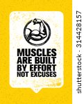 muscles are built by effort not ... | Shutterstock .eps vector #314428157