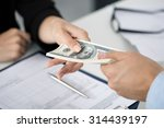woman taking batch of hundred... | Shutterstock . vector #314439197