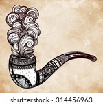 Hand Drawn Ornate Tobacco Pipe...