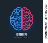 left   right human brain... | Shutterstock .eps vector #314487953