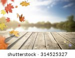 Stock photo old wooden pier on the lake in autumn 314525327