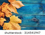 Yellow Autumn Leaves On Blue...
