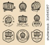 alcohol logos. wooden barrels... | Shutterstock .eps vector #314545397