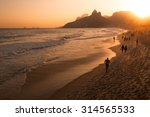 Warm Sunset In Ipanema Beach ...