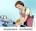 Woman Washing Dishes Housewife...