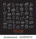 set of flat food icons drawing... | Shutterstock .eps vector #314594573