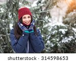 beautiful young girl enjoy in... | Shutterstock . vector #314598653