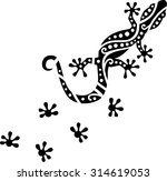 Gecko With Ornaments Pattern...
