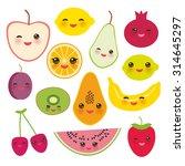 set strawberry  orange  banana... | Shutterstock .eps vector #314645297