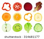 collection of fresh fruit and... | Shutterstock . vector #314681177