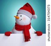 Snowman Holding Blank Christma...