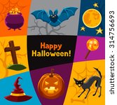 happy halloween greeting card... | Shutterstock .eps vector #314756693