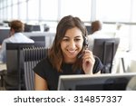 young woman working in a call... | Shutterstock . vector #314857337