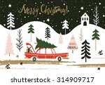 christmas greeting card. merry... | Shutterstock .eps vector #314909717