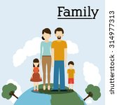 family on planet design  vector ... | Shutterstock .eps vector #314977313