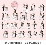 set of wedding pictures  bride... | Shutterstock .eps vector #315028397