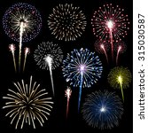 set of isolated  fireworks... | Shutterstock . vector #315030587